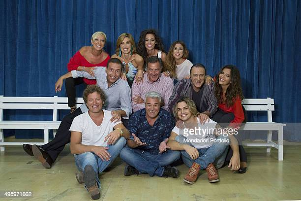 The full cast of the competitors posing during a photo shoot realized inside the television studio where the talent show 'Tale e quale show' is...