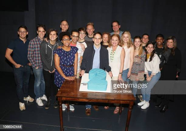 The full cast with creative team pose at the 2nd Anniversary and Smithsonion Museum Donation ceremony for Dear Evan Hansen on Broadway at The Music...