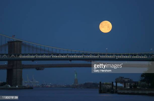 The full Flower Moon sets behind the Statue of Liberty and Brooklyn Bridge as a subway train crosses the Manhattan Bridge at sunrise on May 18 2019...
