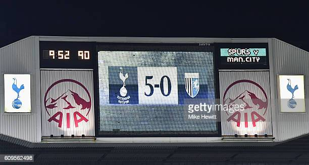 The full time score is shown on the big screen during the EFL Cup Third Round match between Tottenham Hotspur and Gillingham at White Hart Lane on...