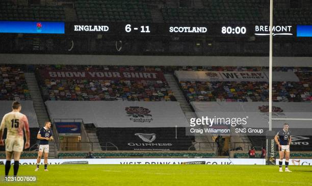 The full time scoreboard reads England 6-11 Scotland during the Guinness Six Nations match between England and Scotland at Twickenham Stadium on...