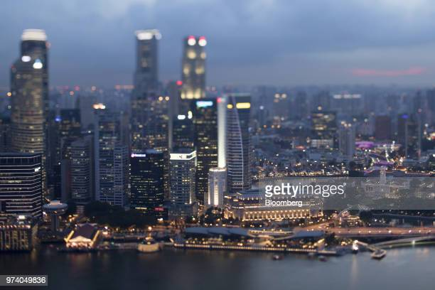 Image was created using a variable planed lens The Fullerton Hotel center right and commercial buildings standing in the central business district...