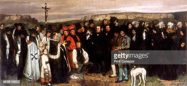 'The Funeral at Ornans' 1850 This realistic representation of a simple country funeral with the village priest leading the cortege to the open grave...