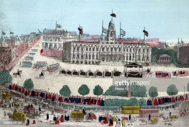 The funeral car and procession for President Abraham Lincoln in front of City Hall on April 25th 1865 following his death