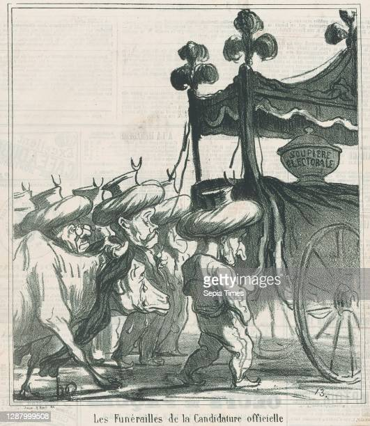 The funeral ceremony for the official candidacy, from 'News of the day,' published in Le Charivari, March 31 'News of the day' , Honore Daumier ,...