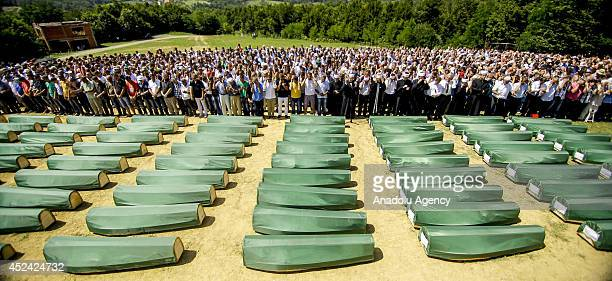 The funeral ceremony of 284 victims of Bosnian War who exhume from mass grave at Tomasica in Prijedor Bosnia and Herzegovina on 20 July 2014 284...