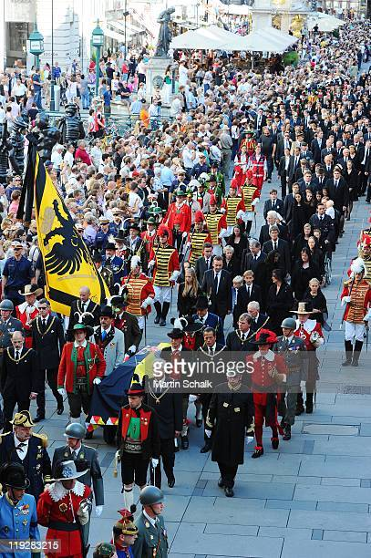 The funeral cortege during the funeral ceremony for Otto von Habsburg seen in historic downtown Vienna on July 16, 2011 in Vienna, Austria. Otto von...