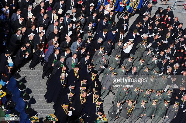 The funeral cortege during the funeral ceremony for Otto von Habsburg makes its way through the streets on July 16 2011 in Vienna Austria Otto von...