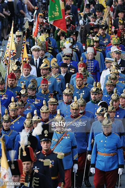 The funeral cortege during the funeral ceremony for Otto von Habsburg makes its way through downtown district on July 16 2011 in Vienna Austria Otto...