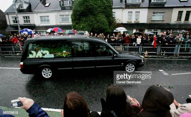 The funeral cortege for footballer George Best makes its way from the private service held at his family home on the Cregagh Estate to the service at...