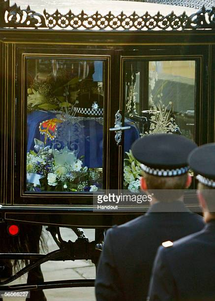 The funeral cortege for Police Constable Sharon Beshenivsky arrives at Bradford Cathedral on January 11 2006 in Bradford England PC Beshenivksy was...