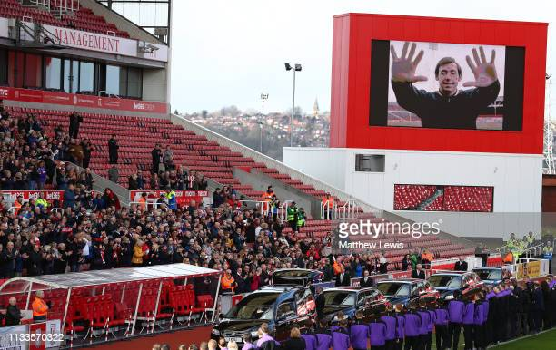 The funeral cortege of former Stoke City and England goalkeeping legend Gordon Banks makes it's way along the West Stand in the bet365 Stadium on...