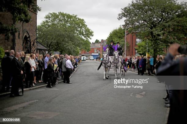 The funeral cortege of Manchester attack victim Lisa Lees arrives at St Anne's Church on June 23 2017 in Oldham England Lisa Lees was among 22 people...