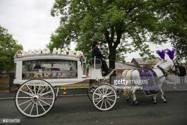 The funeral cortege of Manchester attack victim Lisa Lees leaves St Anne's Church on June 23 2017 in Oldham England Lisa Lees was among 22 people who...