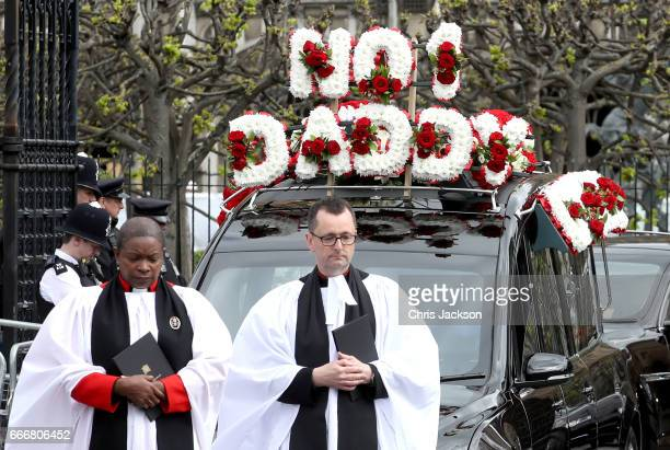 The funeral cortege of PC Keith Palmer makes its way from The Palace of Westminster to Southwark Cathedral on April 10 2017 in London United Kingdom...