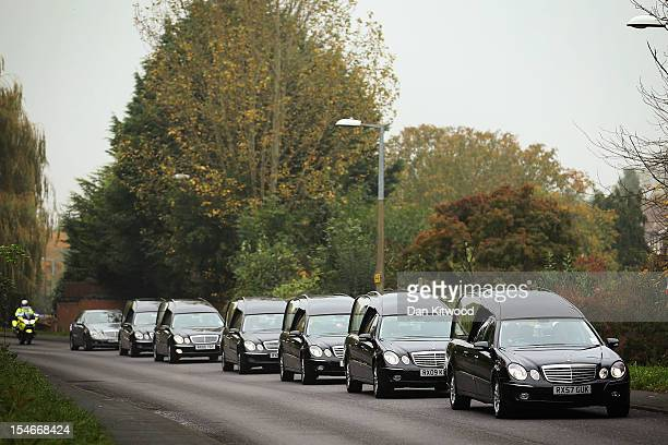 The funeral cortege of Sabah Usmani and her five children who were killed in a house fire arrives for a service of prayer at the Harlow Islamic...