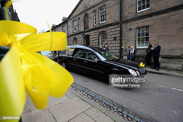 The funeral cortege of teenage cancer fundraiser Stephen Sutton as it leaves Lichfield Cathedral on May 30 2014 in Lichfield England Thousands of...