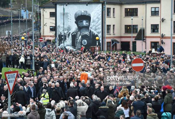 The funeral cortege passes Free Derry Corner on March 23 2017 in Londonderry Northern Ireland The funeral is held for Northern Ireland's former...
