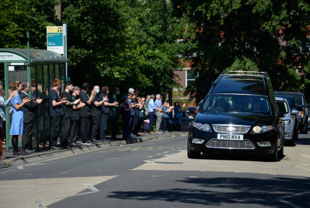 GBR: Funeral Procession Held For NHS Porter Mike Brown Passes Southampton General Hospital