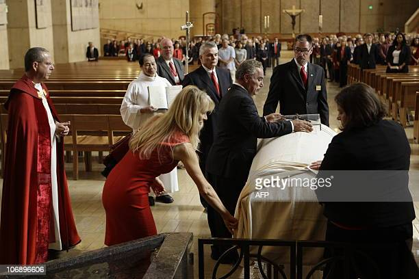 The funeral for Italianborn film producer Dino De Laurentiis at the Cathedral of Our Lady of the Angels on November 14 2010 in Los Angeles California...