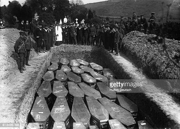The funeral for victims of the Lusitania disaster when the German naval forces sank a British passenger vessel
