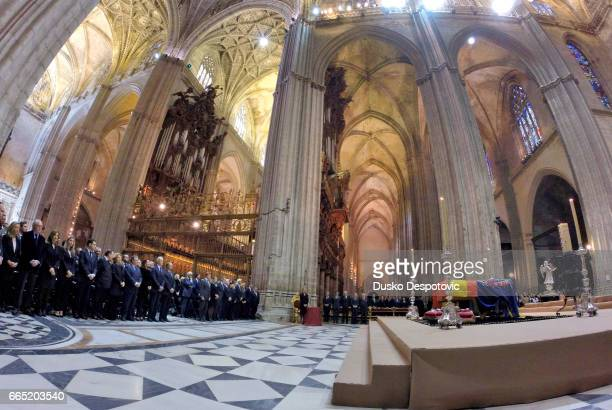 The funeral mass in the Seville cathedral for Duchess of Alba in presence of her 5 sons and dagher and her widower Alfonso Diez ON THIS PHOTO...