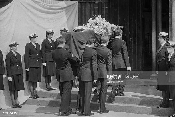 The funeral of British police officer Yvonne Fletcher at Salisbury Cathedral England 27th April 1984 Fletcher was shot and killed during a protest...