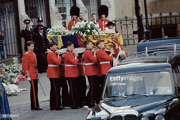 The funeral of Diana, Princess of Wales at Westminster Abbey in London, 6th September 1997. Here the coffin leaves the abbey after the ceremony.