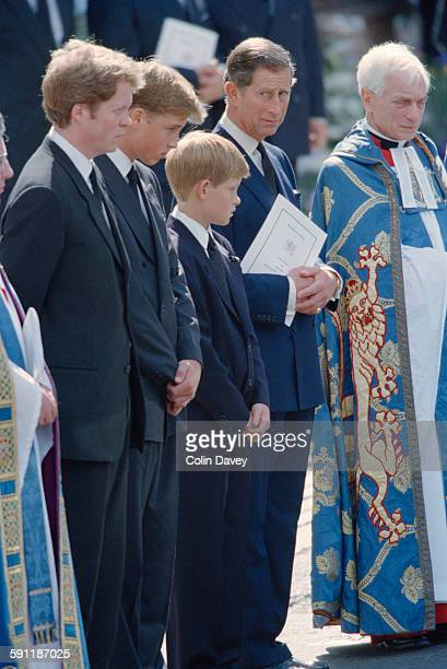 The funeral of Diana Princess of Wales at Westminster Abbey in London 6th September 1997 From left to right Earl Spencer Prince William Prince Harry...