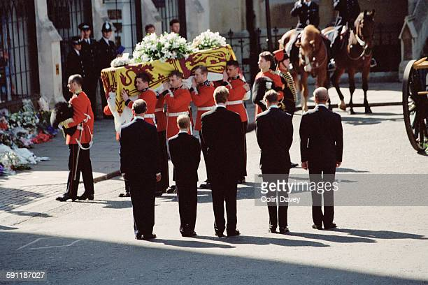 The funeral of Diana Princess of Wales at Westminster Abbey in London 6th September 1997 From left to right Prince Charles Prince Harry Earl Spencer...