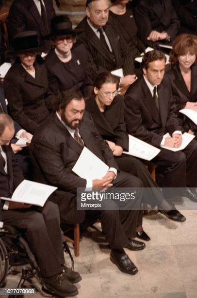 The funeral of Diana Princess of Wales at Westminster Abbey London Italian operatic tenor Luciano Pavarotti and his partner Nicoletta Mantovani...