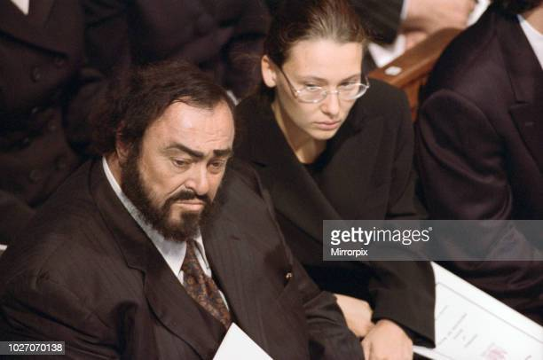 The funeral of Diana Princess of Wales at Westminster Abbey London Italian operatic tenor Luciano Pavarotti and his partner Nicoletta Mantovani 6th...