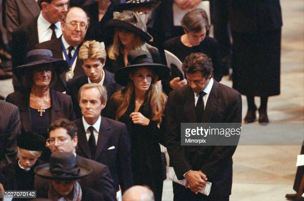 The funeral of Diana Princess of Wales at Westminster Abbey London Lady Annabel Goldsmith Imran Khan and his wife Jemima Khan 6th September 1997