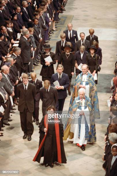 The funeral of Diana Princess of Wales at Westminster Abbey London Lady Jane Fellows Frances Shand Kydd Lady Sarah McCorquodale Prince Harry Prince...