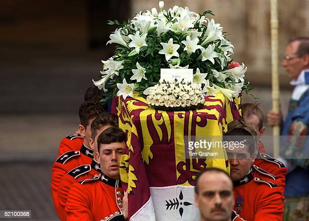 The Funeral Of Diana Princess Of Wales The Coffin Of Diana Princess Of Wales Leaving Westminster Abbey With Wreaths Of White Lillies From Her Sons...
