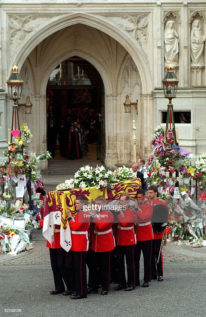 The Funeral Of Diana, Princess Of Wales. The Coffin Of Diana, Princess Of Wales , Being Carried Outside Westminster Abbey, London.