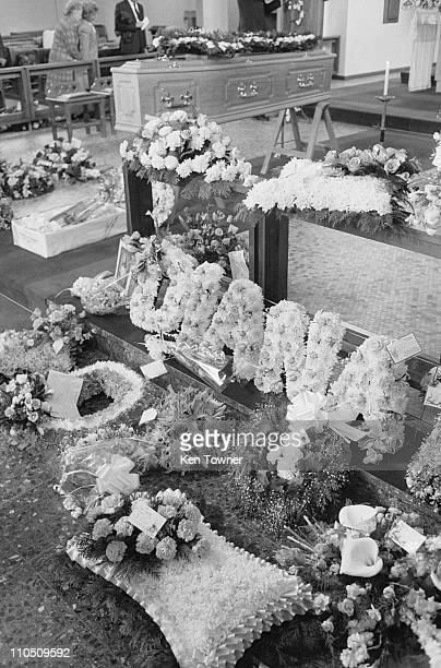 The funeral of English actress Diana Dors at the Sacred Heart Church in Sunningdale Berkshire 11th May 1984