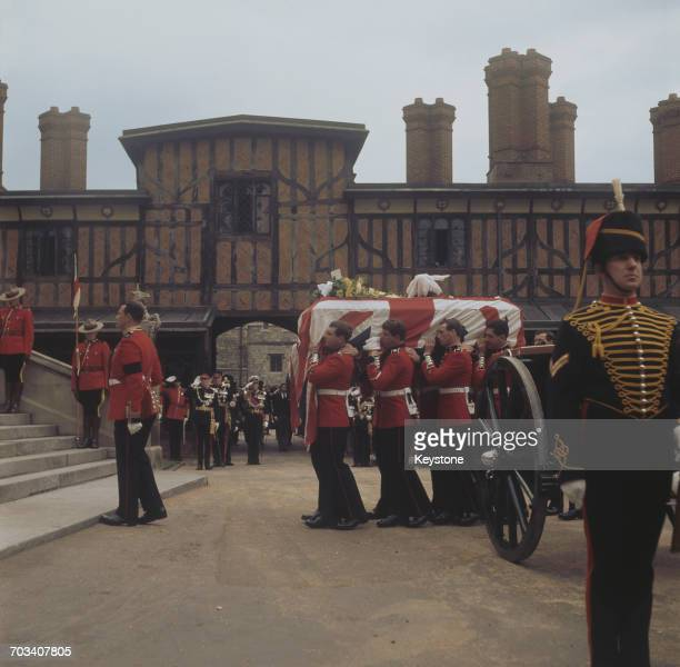 The funeral of Field Marshal Harold Alexander 1st Earl Alexander of Tunis the former Governor General of Canada at St George's Chapel in Windsor...