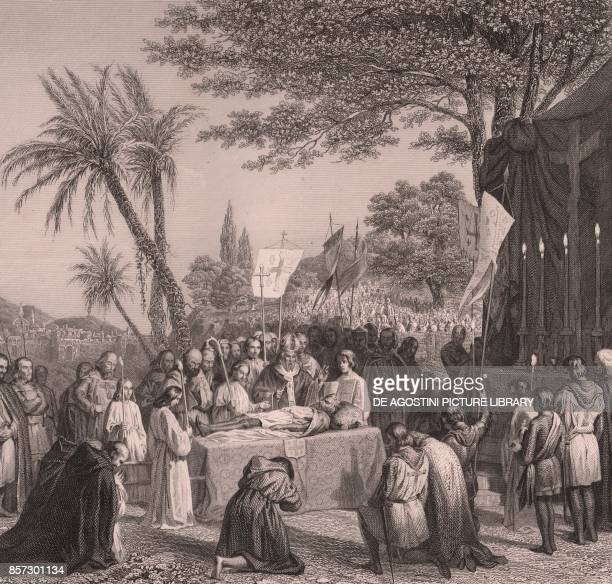 The Funeral of Godfrey of Bouillon on Calvary Jerusalem July 23 steel engraving on china paper 18x19 cm taken from Galerie historique de Versailles...