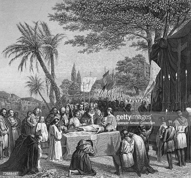 The funeral of Godfrey of Bouillon , who ruled Jerusalem for a year, outside the city in Calvary, 23rd July 1100. An engraving by E. Lerouge after a...