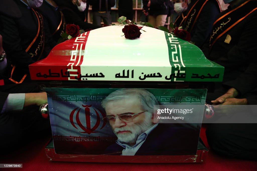 Funeral ceremony of Iranian Nuclear Scientist Mohsen Fakhrizadeh Mahabadi : News Photo