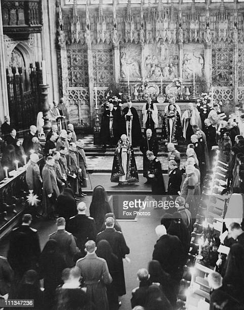 The funeral of King George V taking place at St. George's Chapel, Windsor Castle, 29th January 1936.