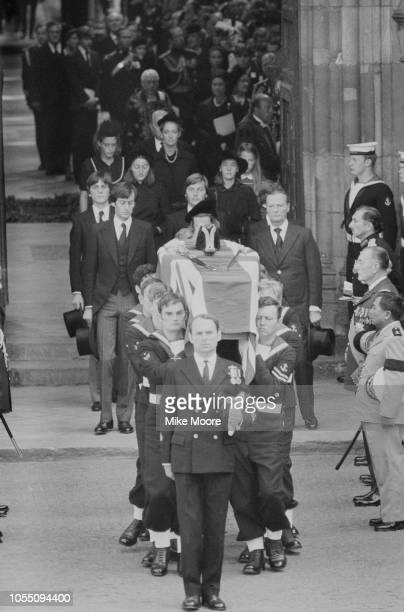 The funeral of Lord Louis Mountbatten assassinated by IRA member Thomas McMahon Westminster Abbey London UK 5th September 1979