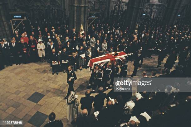 The funeral of Lord Louis Mountbatten in London England 5th September 1979 Mountbatten had been killed by an IRA bomb in Ireland