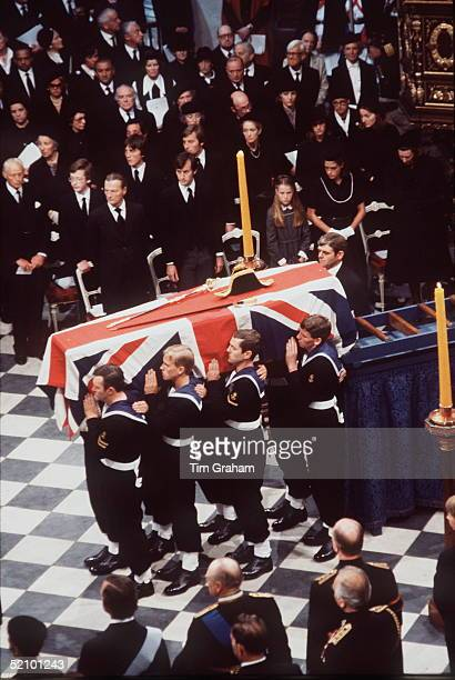 The Funeral Of Lord Louis Mountbatten In Westminster Abbey Pallbearers Carry His Coffin