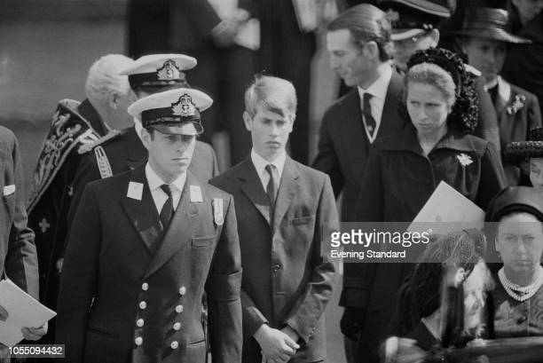The funeral of Lord Mountbatten of Burma following his murder by the IRA Prince Andrew Prince Charles Prince Edward Princess Margaret the Queen...