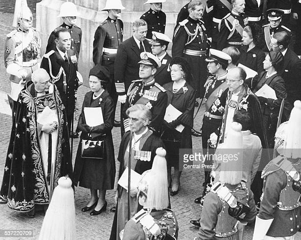 The funeral of Lord Mountbatten of Burma following his murder by the IRA Reverend Edward Carpenter HM Queen Prince Philip the Queen Mother Prince...