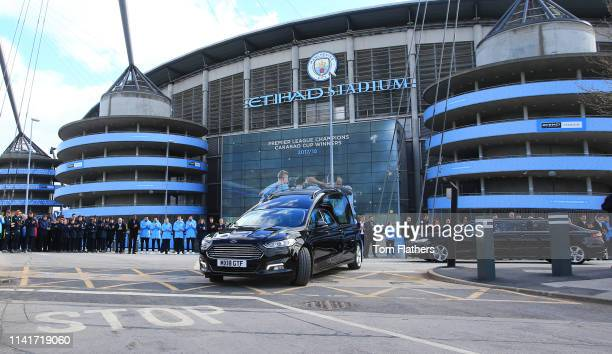 The Funeral of Manchester City Life President Bernard Halford on April 10 2019 at the Etihad Stadium Manchester England