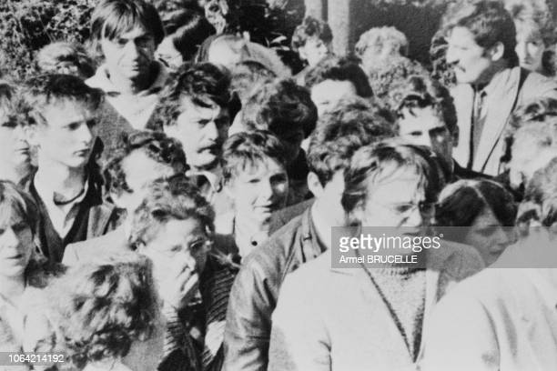 The funeral of murdered four yearold boy Grégory Villemin takes place in Lepanges Sur Vologne Vosges France 19th October 1984 Bernard Laroche was...