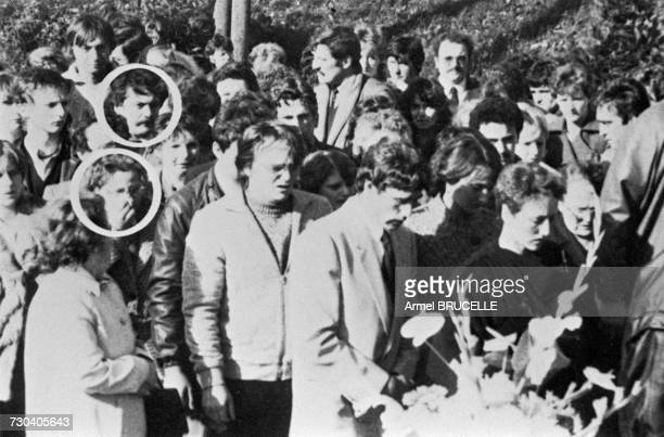 The funeral of murdered four yearold boy Grégory Villemin takes place in Lepanges Sur Vologne Vosges France 19th October 1984 Circled are Bernard...